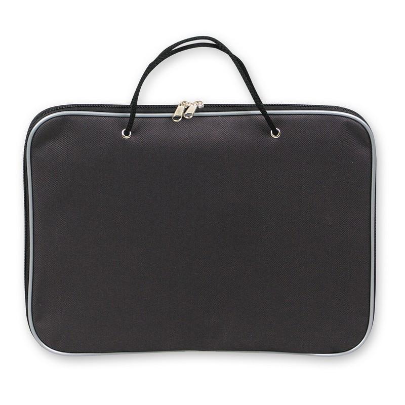Папка-портфель на молнии с ручками офисн. А4 черная, нейлон 85-41 Россия