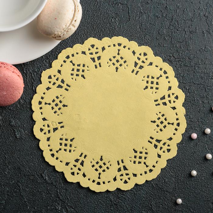"""Салфетка для торта и десерта 14 см """"Ажурный круг"""", цвет жёлтый"""