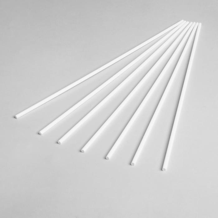 Трубочка для шаров, флагштоков и сахарной ваты, 41 см, d=6 мм, цвет белый