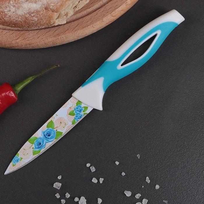 """Нож кухонный с антиналипающим покрытием """"Райский сад"""" лезвие 8,5 см, цвет голубой"""