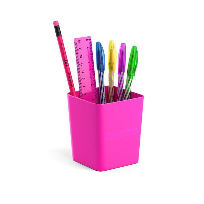 Набор настольный канцелярский 6 предметов ErichKrause Base, Neon Solid, розовый