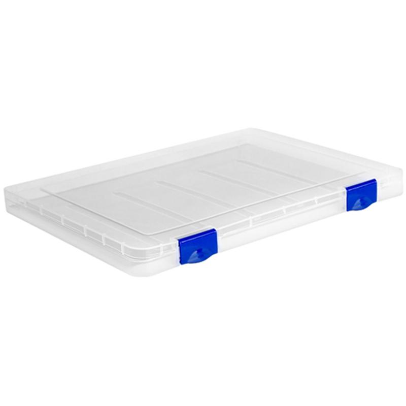 Папка для документов Стамм, А4 230*305*23мм, пластик., прозрачная, синие защелки