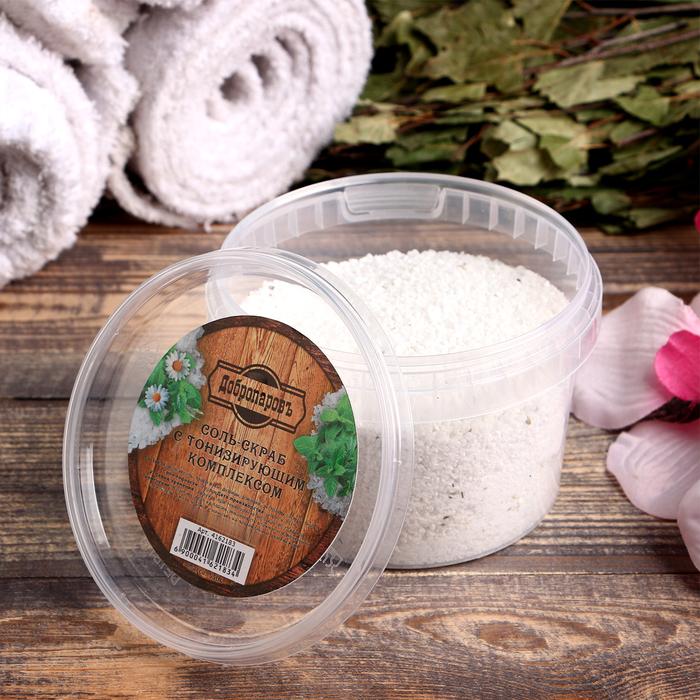 """Солевой скраб """"Добропаровъ"""" из белой каменной соли с маслом пихты и травами, 550 гр"""