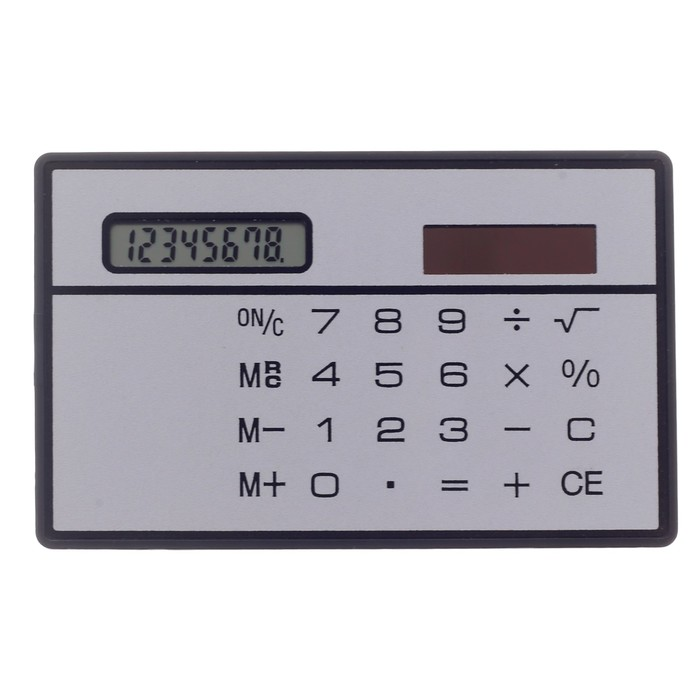 Калькулятор плоский, 8-разрядный, серебристый корпус