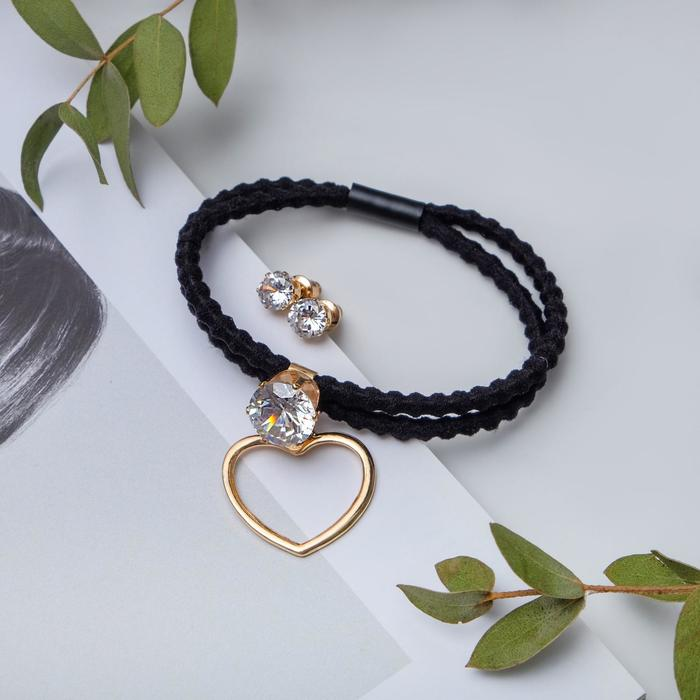 """Набор 2 предмета: браслет, пуссеты """"Модерн"""" сердце с кристаллом, цвет чёрный в золоте"""