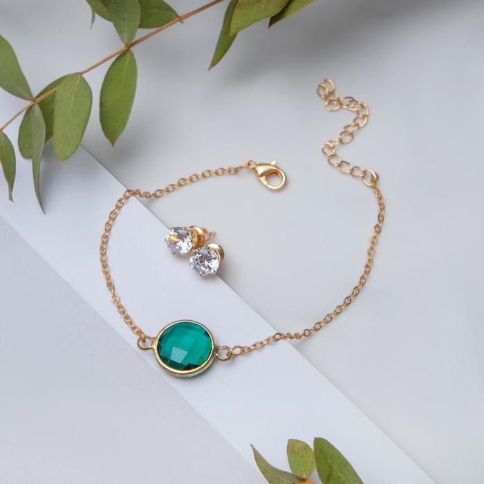 """Набор 2 предмета: браслет, пуссеты """"Модерн"""" витраж, цвет бело-зелёный в золоте"""
