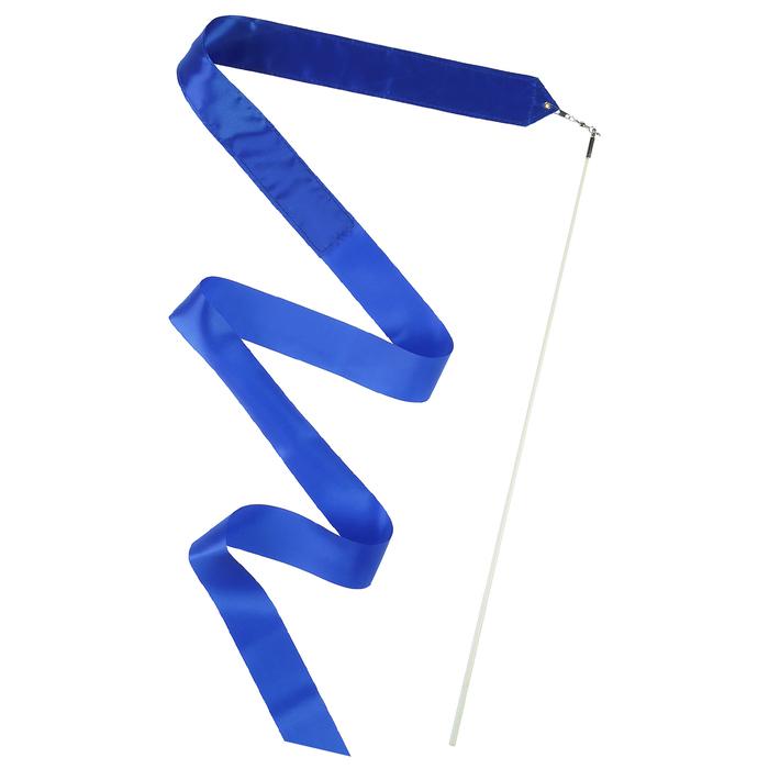 Лента гимнастическая с палочкой 6 м, цвет синий