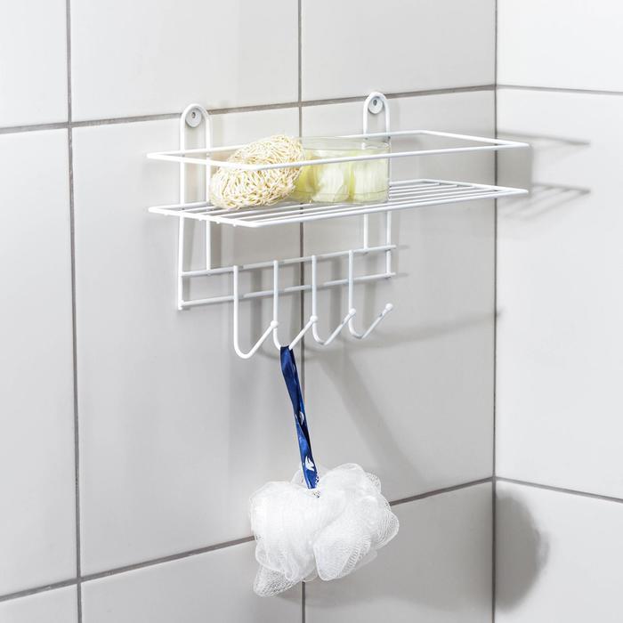 Полка для ванной прямая, 4 крючка, 33?12,5?21 см, цвет белый