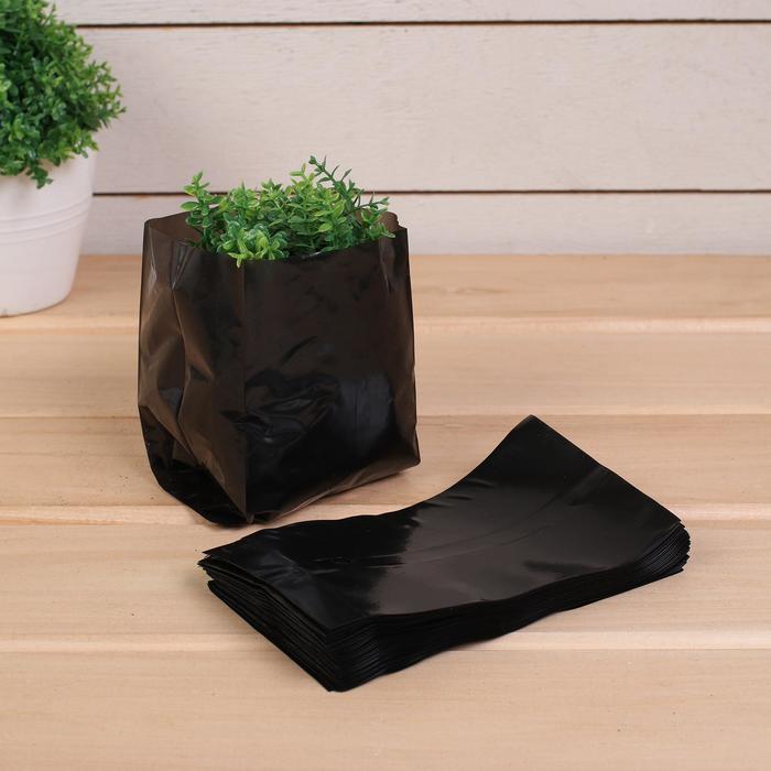 Пакет для рассады, 0.6 л, 8 ? 14 см, толщина 50 мкм, с перфорацией, чёрный