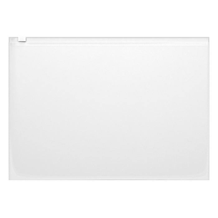 Папка-конверт на гибкой молнии Zip А4, 140 мкм, Fizzy, вместимость 100 листов, тиснение - orange peel, прозрачная