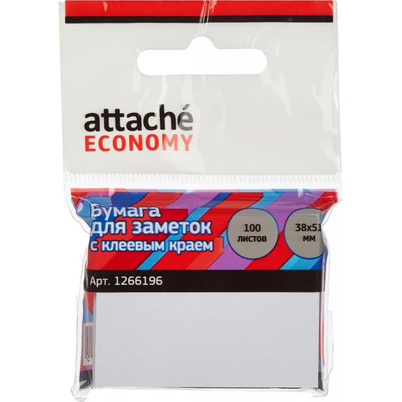 Стикеры Attache Economy с клеев.краем 38x51 мм, 100 листов, белая