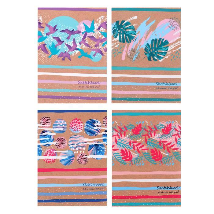 Скетчбук А6, 32 листа на скрепке Art colour, обложка мелованный картон, белый блок 100 г/м2, МИКС