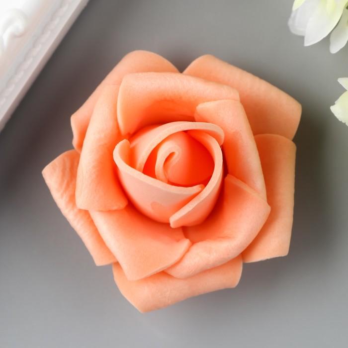 Розочка из фоамирана, персиковая d-4 см