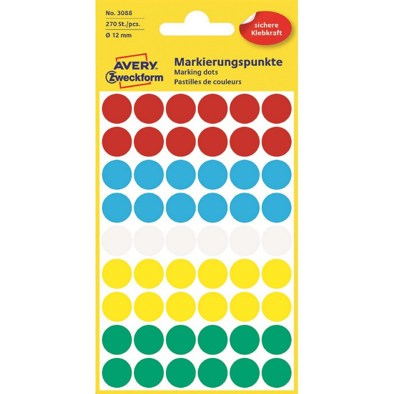 Этикетки самоклеящиеся точки  3088 d=12 мм, многоцветный, 270шт/уп