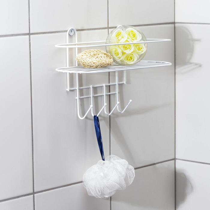 Полка для ванной овальная, 4 крючка, 33?12,5?21 см, цвет белый