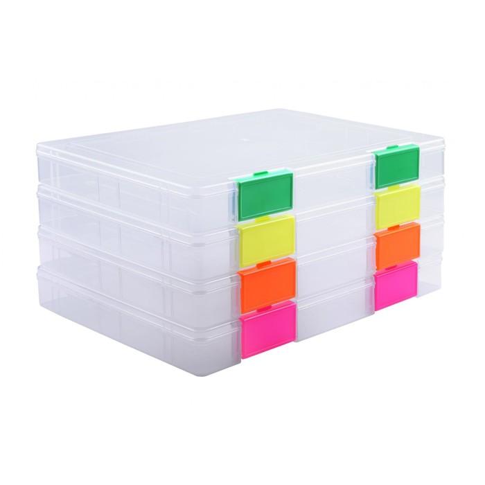 Папка для документов А4, Neon, с цветными защелками микс, 230 х 305 х 40 мм, прозрачный корпус