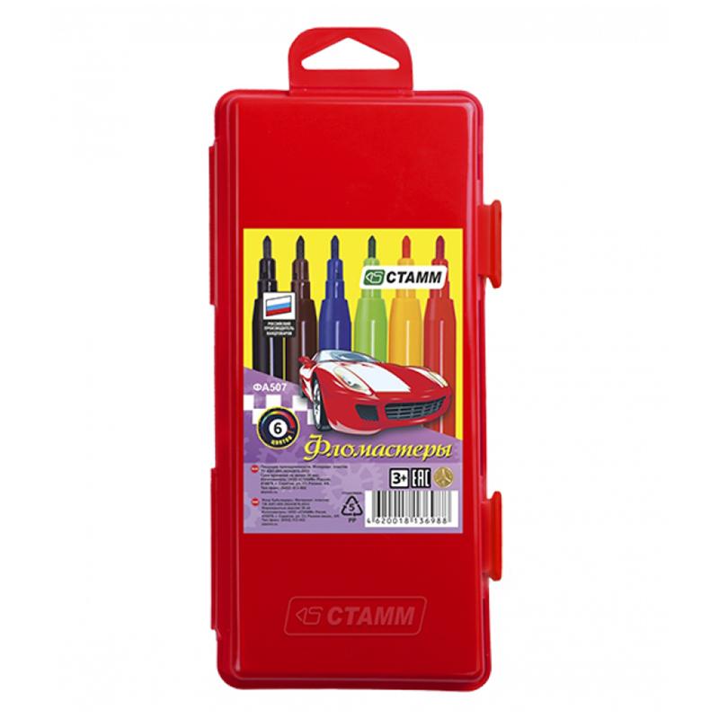 """Фломастеры Стамм """"Автомобили"""", 06цв., смываемые, красный пластик.пенал, европодвес"""