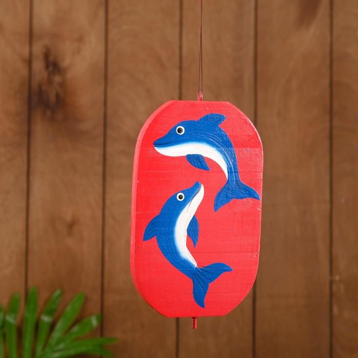 """Сувенир подвесной """"Дельфины"""" дерево 12х13х15 см"""