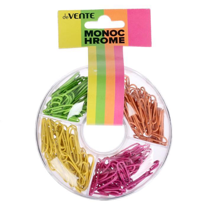 Скрепки 28 мм цветные , 160 штук (микс х 4 цвета: неон розовый, желтый, зеленый, оранжевый), deVENTE Monochrome, в пластиковом футляре