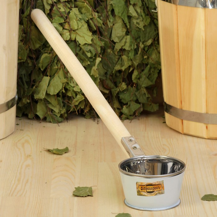"""Ковш для бани из нержавеющей стали, 0.35л, 60 см, с деревянной ручкой, """"Добропаровъ"""""""