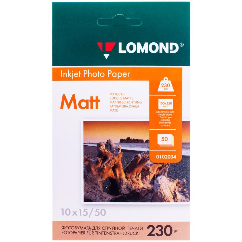 Фотобумага A6 (100*150) для стр. принтеров Lomond, 230г/м2 (50л) мат.одн.