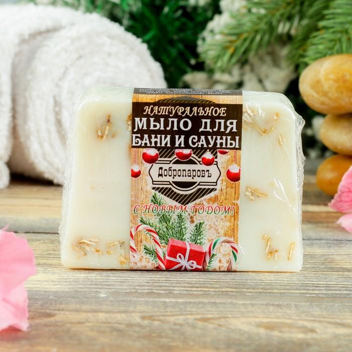 """Натуральное мыло для бани и сауны """"Ваниль- овёс"""", """"Добропаровъ"""", Новый Год, 100гр"""