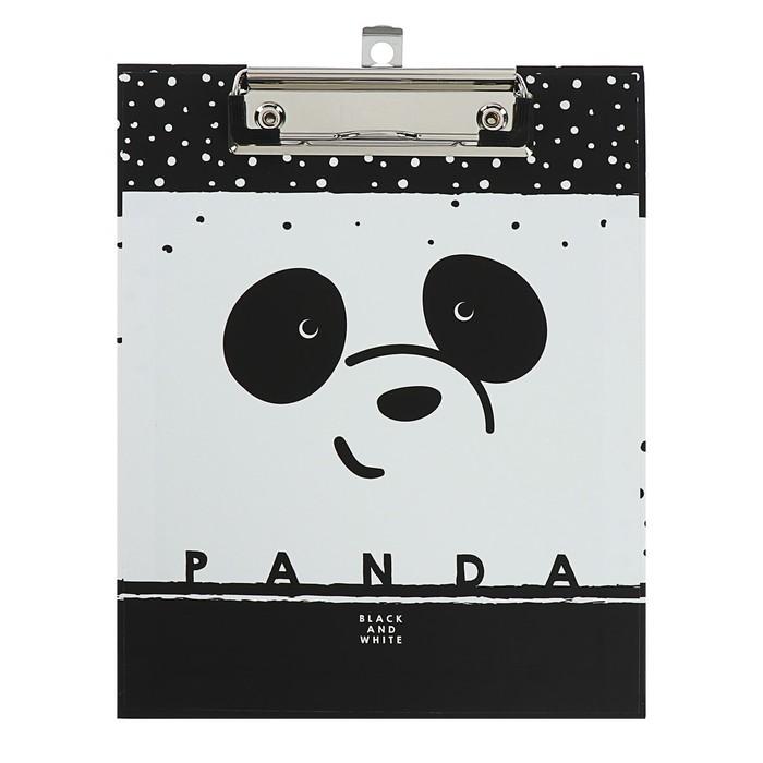 Папка-планшет А5 с металлическим зажимом Panda, ламинированный картон, матовая ламинация