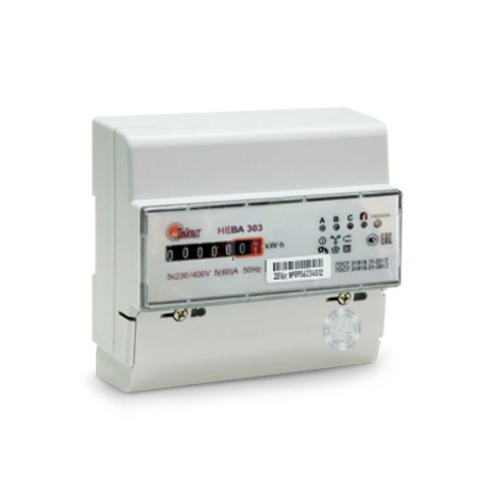 Счетчик НЕВА 303 1S0, 3ф, 5-100 А, 0.5s/1.0 класс точности, однотарифный