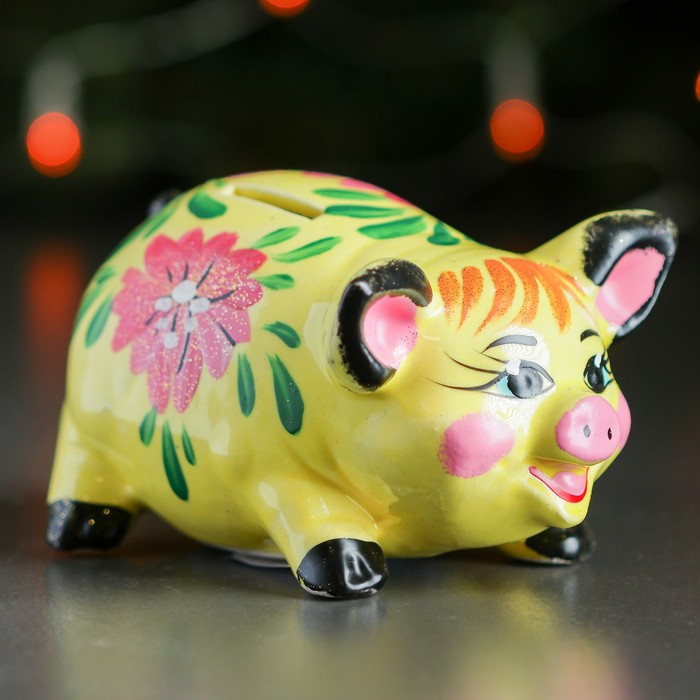 """Копилка """"Свинка"""", глянец, разноцветный, 8 см, микс"""