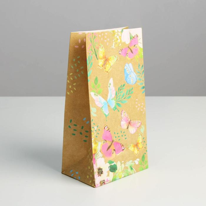Пакет подарочный без ручек «Райские бабочки», 10 ? 19.3 ? 7 см