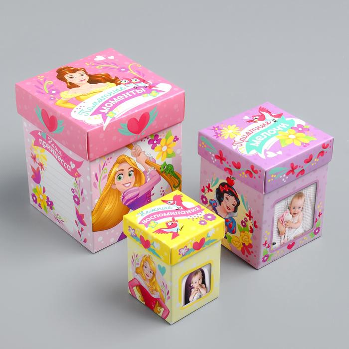 Памятные коробочки для новорожденных, Принцессы, 3 шт, с местом под фото