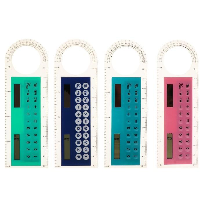 Калькулятор-линейка, 10 см, 8-разрядный, корпус прозрачный, с транспортиром, работает от света