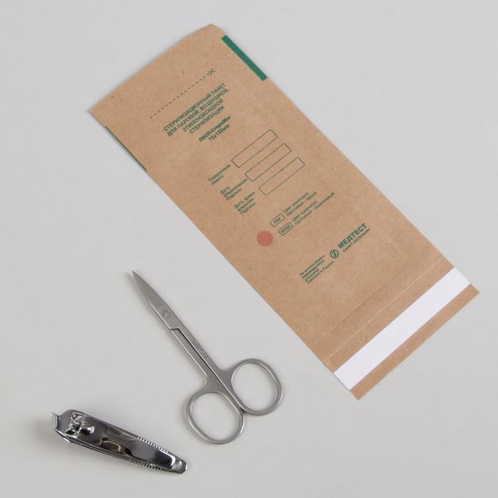 Крафт-пакет для стерилизации, 75 ? 150 мм, цвет коричневый