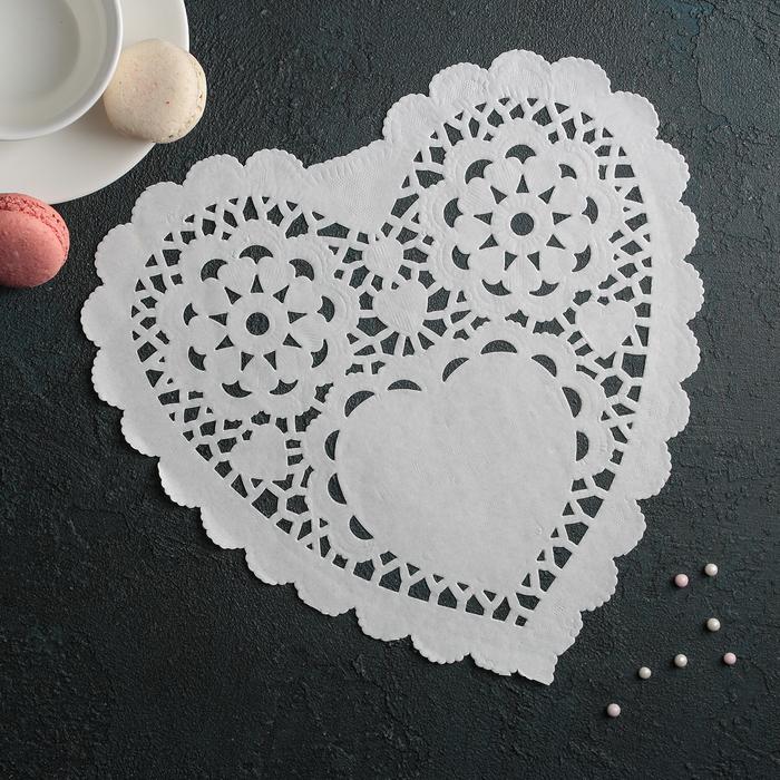 """Салфетка для торта и десерта 25,4?25,4 см """"Ажурное сердце"""", цвет белый"""