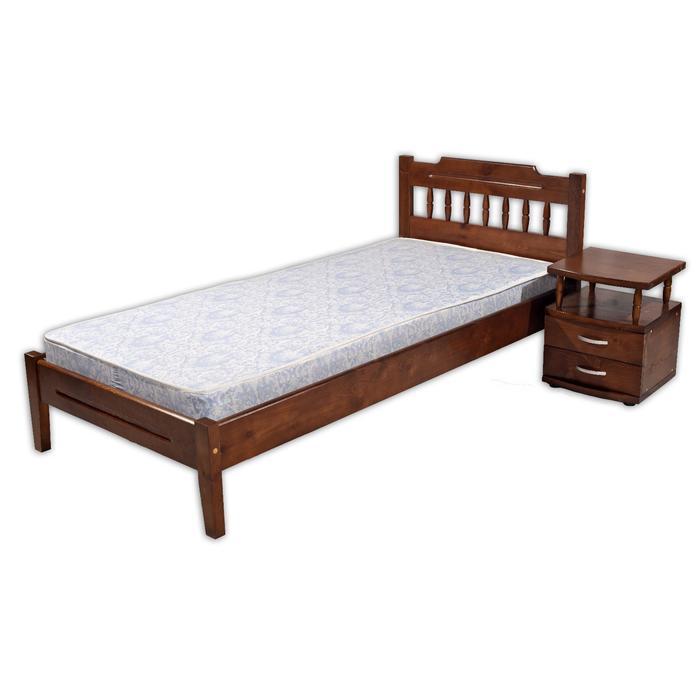 Кровать «Мария 1», 1200 ? 2000 мм и тумба прикроватная №2, массив сосны, цвет дуб