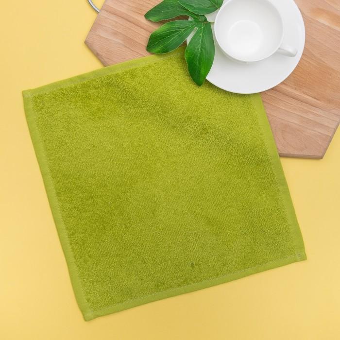 Салфетка махровая, 30х30 см, цвет оливковый