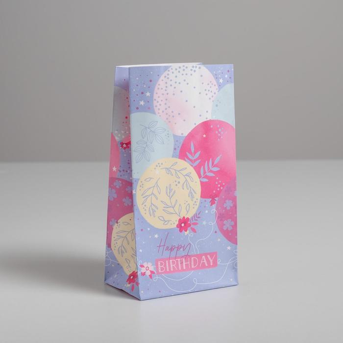 Пакет подарочный без ручек Happy Birthday, 10 ? 19.5 ? 7 см