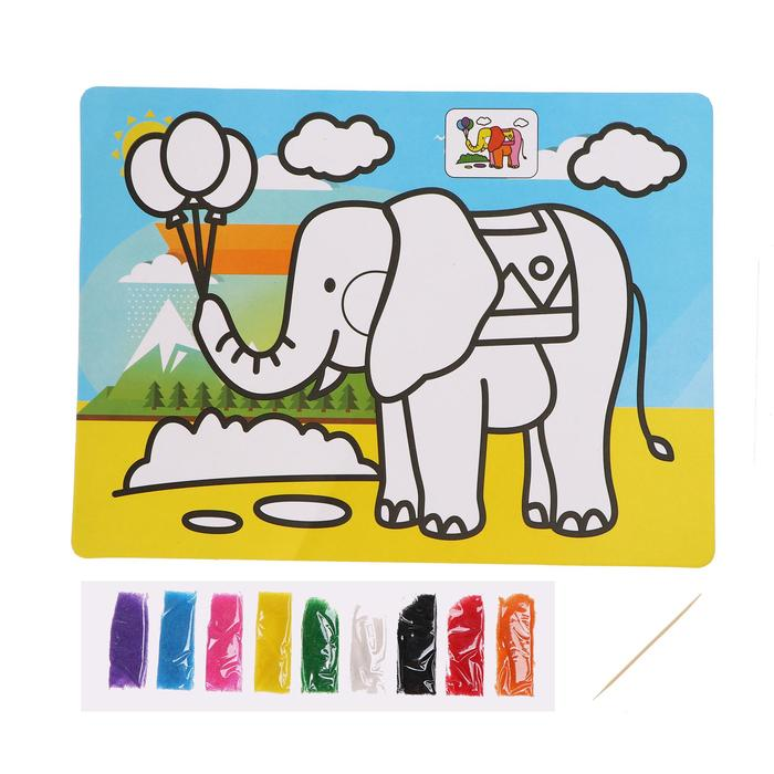 Фреска с цветным основанием «Слон» 9 цветов песка по 2 г