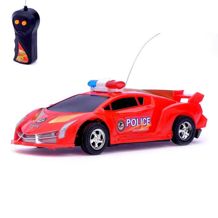 """Машина радиоуправляемая """"Полиция"""", работает от батареек, световые эффекты, цвета МИКС, в пакете"""