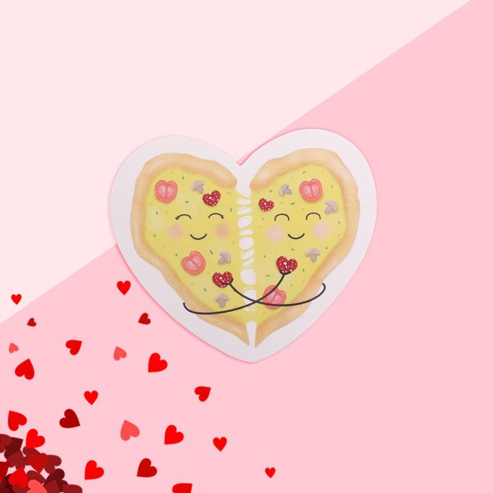 """Открытка-валентинка """"Любовь"""" пицца, 7,1 x 6,1 см"""
