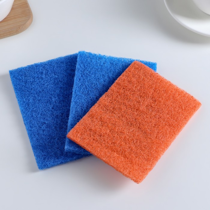 Набор губок-салфеток бытовых «Эффект», 3 шт, 13?9 см, цвет МИКС
