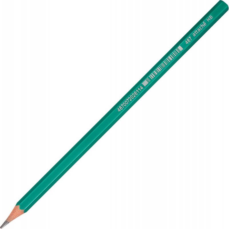 Карандаш чернографитный Attache Economy плаcтик, б/ластика, HB,зелен.корпус