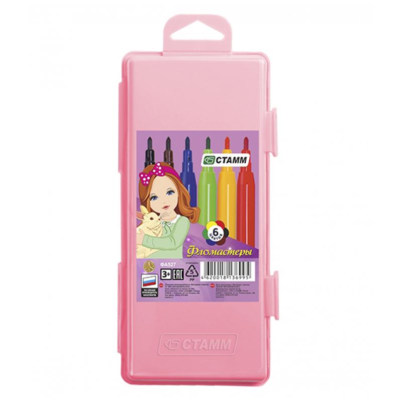 """Фломастеры Стамм """"Алиса"""", 06цв., смываемые, розовый пластик.пенал, европодвес"""