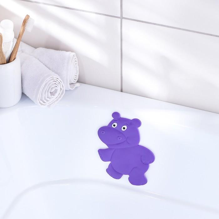 Мини-коврик для ванны Доляна «Бегемотик», 12?13 см, цвет фиолетовый