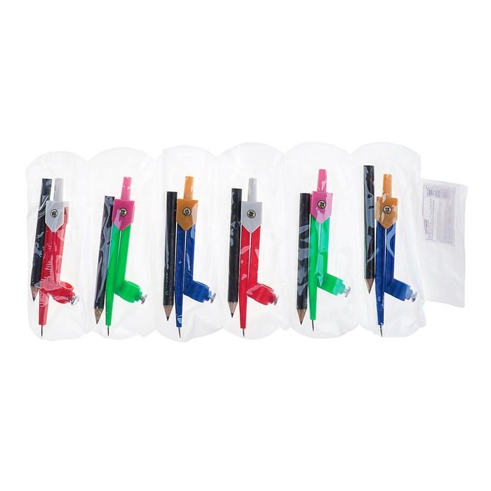Циркуль пластиковый с карандашом 110 мм, в ПВХ, МИКС