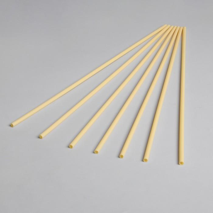 Трубочка для шаров, флагштоков и сахарной ваты, длина 41 см, d=6 мм, цвет светло-жёлтый