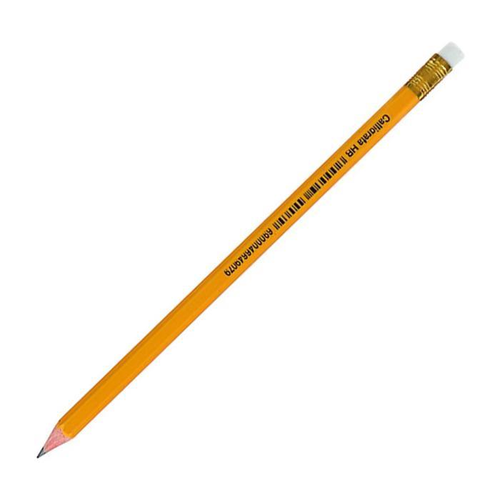 Карандаш чернографитный Calligrata HB с ластиком пластик. оранжевый