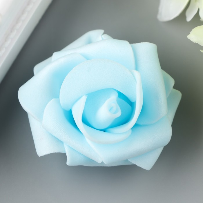 Розочка из фоамирана, голубая d-4 см