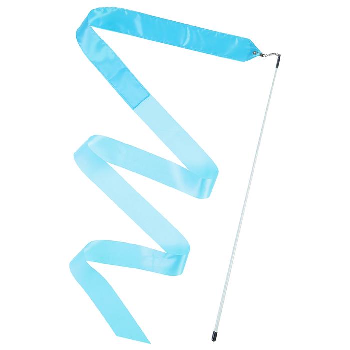 Лента гимнастическая с палочкой 6 м, цвет голубой