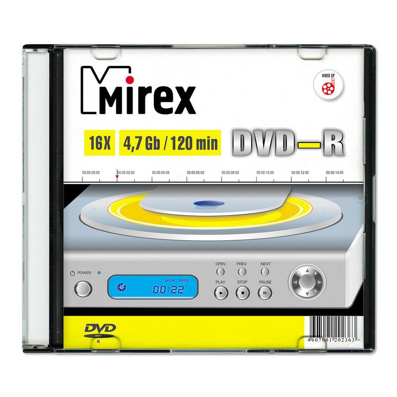 Носители информации DVD-R, 16x, Mirex, Slim/1, UL130003A1S